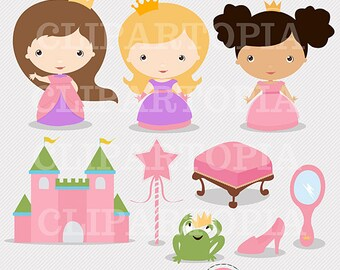 Little Princess Cute Princess Digital Clipart For Personal And Commercial Use / INSTANT DOWNLOAD