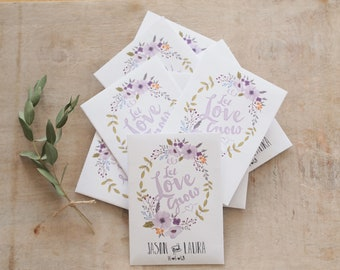 Personalised Wedding Favour, Set Of 10  Let Love Grow Wildflower Customised Seed Packets