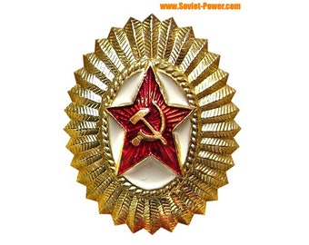USSR Red Star military Russian hat badge