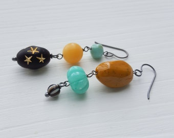 odd couple earrings - asymmetrical earrings, vintage Lucite and sterling silver