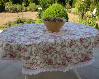Shabby chic pink floral round tablecloth - Duck linen- pink checkered -white eyelet ruffle around table cloth-shabby chic home decor