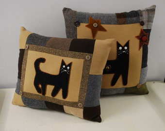 Wool Pillows Cat Eco Friendly Primitive Black Kitty Upcycled Wool Accent Halloween Home Decor