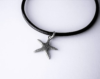 Star Fish Charm Ankle Bracelet on Leather Strap, Petite to Plus Size By Anklet Gypsy