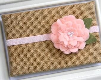 Pink Felt Flower Headband - Baby Headband - Toddler Headband - Pink Glitter Headband