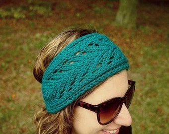 Turquoise Knit Headband with Pretty Lace Pattern Knitted Hair Band Winter Hair Accessory Boho Head band Knit Hair Wrap - Knit Lace Headband