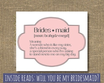 Will You Be My Maid of Honor | Ask Bridesmaid | Will you Be My Bridesmaid | Bridesmaid Invitation | Witty Wedding Party Card | Rock Candie