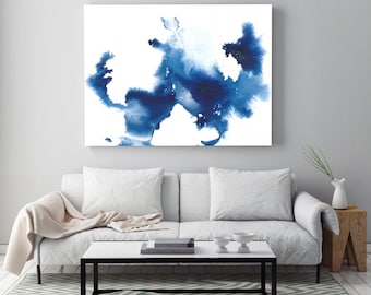 "Blue abstract painting ""Creation in Air"" by Jules Tillman Fine Art Lustre Print minimal modern landscape watercolor painting. Large Art"