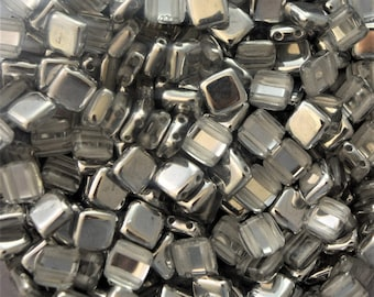 6mm Two-Hole CzechMates Beads Silver 1/2 - Tile Beads - Square Beads - Two Hole Tile Beads - 6mm Czech Beads - Czech Glass Beads 50 BEADS