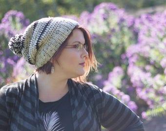 So Basic Crochet Slouchy Hat in Cream Tweed and Black, Unisex Slouch Beanie, Women's Neutral Hat, Men's Beanie Hat, Teen Gift, Pom Pom
