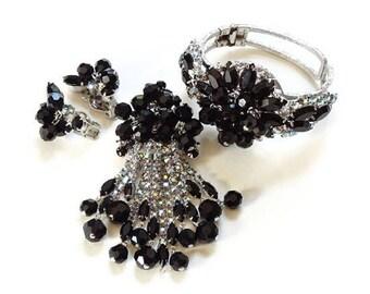 Juliana Verified Black Bead Rhinestone Set Clamper Bracelet Dangle Brooch Clip Earrings 1960s