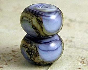 Purple Glass Lampwork Bead Pair Small 11x7mm Amethyst