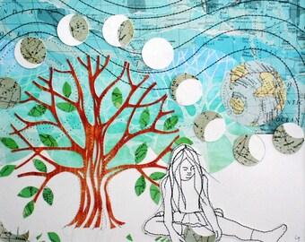 GRAND demi une impression d'art souhait, avec bordure cousu à la machine, technique mixte, papier carte vintage, faire un voeu, phases de lune