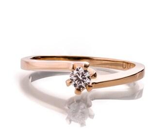 Forever Brilliant Moissanite Engagement Ring - 14K Rose Gold and Moissanite Engagement Ring, engagement ring, Moissanite ring, R006