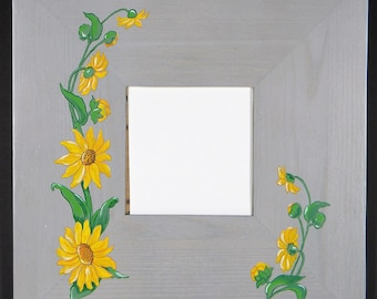 painting hand painted wooden blue mirror acrylic sunflowers