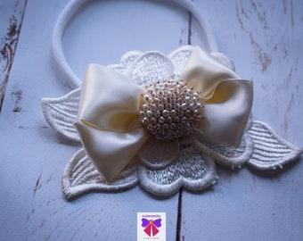 Christening ivory pearly rhinestone headband - Baby / Toddler / Girls / Kids Headband / Hairband / Hair bow /Baptism /First Communion