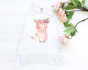 Fringe Dress for Baby, Toddler Dress, Farm Pig with Flowers
