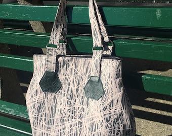 Large Peach Grey Birch Print Zippered Tote Bag, Love Shine Hip Bag, Lightweight Cotton Shoulder Bag
