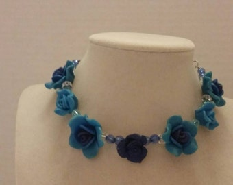 Blue Flower Necklace Bridesmaid Necklace Blue Necklace Flower Necklace Adjustable Necklace Wedding Necklace Gift For Her Bridesmaid Gift