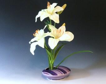 Purple Ikebana Vase, Purple Porcelain Vase, Ceramic Vase, Striped Pattern, Ceramic Ikebana Vase, Wheel Thrown Pottery Vase