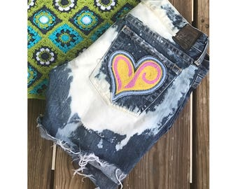 Reworked Upcycled Distressed Denim Shorts with patches