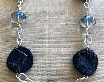 Beautiful Handmade Denim Necklace
