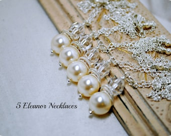 Set of 5, Five Swarovski Ivory Pearl Bridesmaids Necklaces, Crystal Necklace, Bridal Gifts, Pendant Pearl Necklace, Bridesmaids Necklaces