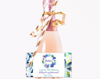 Mini Champagne Labels / Personalized Mini Wine Labels / Ask Bridesmaid Maid of Honor / Boho Floral / Wedding / Bridesmaid Stickers