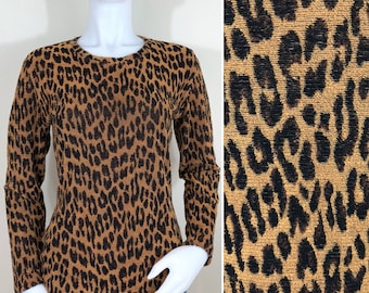 80s AKA Leopard Print Terry Long Sleeve Sweater Top, Size Small to Medium