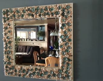 Seashell Accent Beveled Mirror with Aqua Limpet Shells - 17 in. x 17 in.