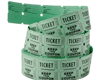 84ct. SINGLE ROW Raffle Tickets in Minty Seafoam Green, Scrapbooking, Crafting, Carnivals, Bazaars, School Functions, Parties, Drawings