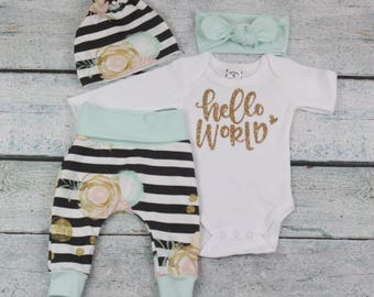 baby girl home coming outfit/coming home outfit/newborn set/hello world outfit/ organic cotton
