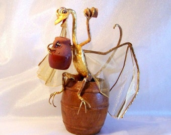 Sir Belch, the Dragon Knight Who Lost the Battle - Gold and Bronze colored Art Doll