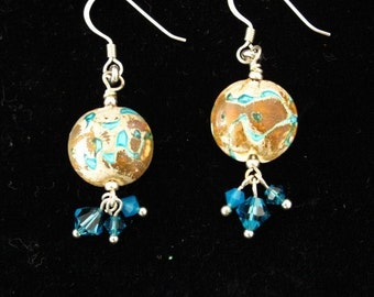 Water and Earth- Lampwork Glass and Swarovski Crystal Earrings