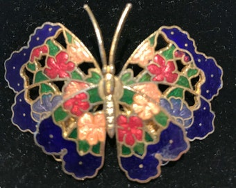 Vintage Large Enamelware Butterfly Pin Brooch Floral Gold Tone Layered