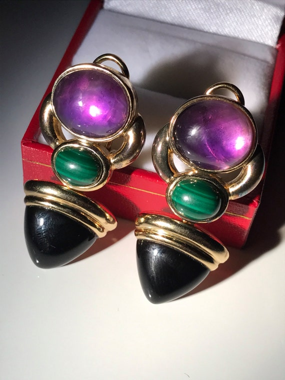 Kai-Yin Lo Amethyst Malachite and Onyx Gilded Sterling Silver Earrings and Brooch Pendant