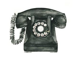 telephone watercolor giclee print  //  art print // wall decor