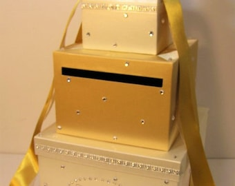 Wedding Card Box Gold and Ivory Gift Card Box Money Box Holder--Customize your color