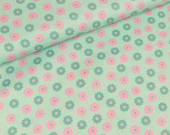 Cotton fabric small flower on mint (8,90 EUR / meter)