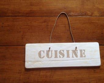"""Door plaque """"cuisine"""" weathered wood"""