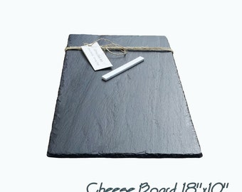 18 x 10  Slate Cheese Board with Soapstone Chalk PLUS FREE set of 2 cheese knifes