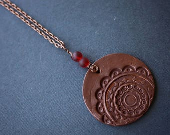 Mandala Necklace, Copper Wire Wrapped Necklace, Polymer Clay Necklace, Copper Necklace, Boho Necklace, Red Necklace