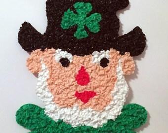 Vintage Melted Plastic Popcorn Leprechaun St. Patrick's Day Decoration by Kage