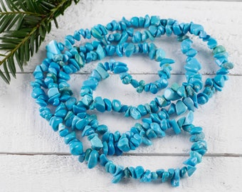 "34"" Deep Turquoise Blue Dyed HOWLITE Chip Necklace - Howlite Bead Necklace, Howlite Jewelry, Howlite Necklace, Healing Crystal Jewelry E0820"
