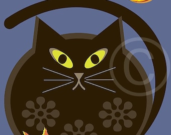 Halloween Art, Halloween, Illustration, Circle Art, Black Cat, Cat, Moon, Black, Blue, 8x10