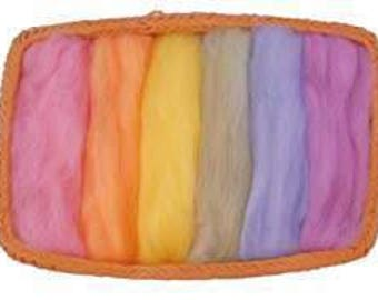 NZ Corriedale Wool Roving - 6 Pastel Colors Assortment
