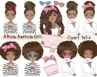 African American girl Clip art Black Girl sticker set 8 , instant download PNG file - 300 dpi