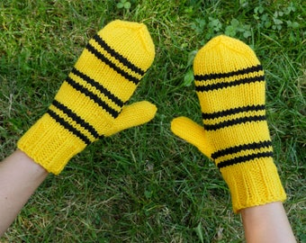 Harry Potter HufflePuff Knit Mittens Yellow and Black Stripes Hand Knitted Mitts Harry Potter Inspired Costume Accessory Hufflepuff Mittens