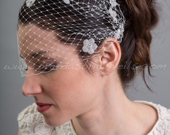 Bandeau Birdcage Veil, Sheer Flower Accent Wedding Veil, Rhinestone Flower Bridal Veil