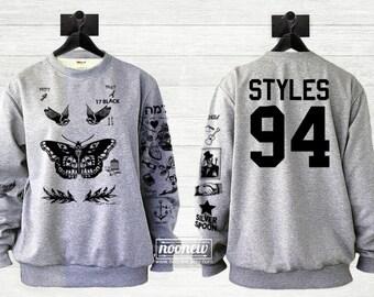 Butterfly Tattoos Sweatshirt Sweater Jumper Pullover Black Shirt Crew Neck Shirt – Size S M L XL