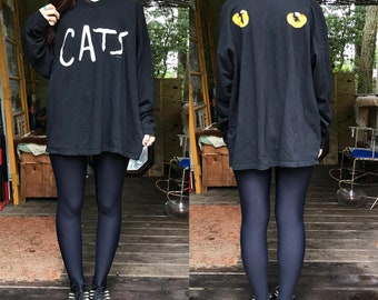 Vintage RARE 1981 Cats The Musical French Terry V Neck Long Sleeve XL